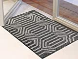 Famibay Fußmatte Einggangsbereich Innen rutschfest Schmutzfangteppich Maschinenwaschbar Haustür Teppich Schwarz Schmutzfangmatte Türmatte Sauberlaufmatte Teppich für Eingangstür Außen