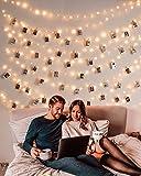 10M 100er Led Lichterkette mit 50 Stücke Klammern für Fotos, USB Lichterkette für Zimmer Deko Fotowand und Geburtstag Party Weihnachten , 8 Beleuchtungsmodi, Warmweiß
