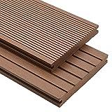 VIENDADPOW Fußböden Teppichböden WPC Massive Terrassendielen mit Zubehör 10 m² 4 m Hellbraun