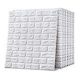 Emsmil 10 Stk 3D Ziegel Tapete Selbstklebend Wandpaneele Weiß 77 x 70 cm Modern Wasserfest Steinoptik Tapeten Schaumstoff Wandaufkleber für Badezimmer Schlafzimmer Wohnzimmer Balkon Küchen