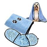 Jicyor Hundehandtuch, 2 pcs Weich Microfiber Schnelltrocknend Warm Hundehandtuch Haustier Badetuch für Hunde Katzen Badezubehör