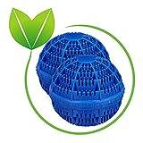 Relaxdays Waschball 2er Set, Waschkugel für Waschmaschine, Waschen ohne Waschmittel, umweltfreundlich, Wäscheball, blau
