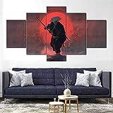 ZHRMGHG Samurai Schwert Blut Katana 5 Teilig Leinwand Hd Bilder Wandbilder Tapete Gemälde Leinwanddrucke Modern Wohnzimmer Dekoration Geschenk Landschaft Die Stadt Tier Animation