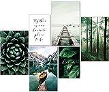 artpin® Moderne Poster Set Natur- Bilder Wohnzimmer Deko Schlafzimmer - Wanddeko Ohne Bilderrahmen Collagen - Wald Holz Grün 4x A3   2x A4 - W8