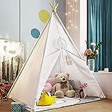 Tipi Zelt Für Kinder,Kinder Spielzelt ,Drinnen Baumwolle Segeltuch Kinderzelt Indianerzelt,Kinder Spielhaus,Geschenke für Kinder(Weiß/120*120*145 cm)