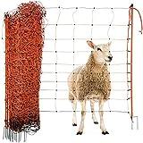 Agrarzone Schafnetz Schafzaun mit Strom orange 50m x 108cm   elektrisches Weidezaun-Netz mit Doppelspitze & Pfähle   Schutzzaun für Schaf Ziege Lämmer   Elektro-Zaun Ziegenzaun S