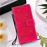 HHF Handy Zubehör Für Huawei p Smart 2021 P20 P30 P40 Lite, Ledertasche Brieftasche Flip Cover für Huawei p Smart 2020 P20 P30 P40 PRO (Farbe : Rose Red, Material : for P Smart 2021)