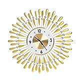 Goldene Sunburst Wanduhr, Sparkling Bling Metallic Und Kristall 3D Abnehmbare Wanduhr Für Wohnzimmer Büro Moderne Kreative Dekoration, Batteriebetrieben   Quarzwerk,60cm