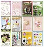 Verlag Dominique - 12er Set Geburtstagskarten mit Briefumschlag - verschiedene Motive