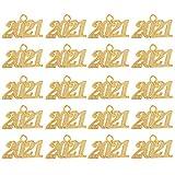 PRETYZOOM 50Pcs Legierung Gold 2021 Jahr Charme 2021 Anhänger Perlen für Graduation Quaste für DIY Schmuck Machen Handwerk Neue Jahr Weihnachten Glückwunsch Dek