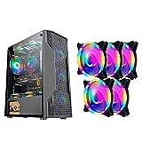 HDYD ATX Gehäuse, Mid-Tower-PC Gaming PC Gehäuse ATX/M-ATX/ITX - Front-I/O USB 3.0-Port - Fully Transparent Side Panels - Unterstützung Wasserkühlung - 8 Lüfter Position