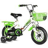 12/14/16 Zoll Kinderfahrrad, Klappbare Stoßdämpfende Rennräder mit Rücksitzhalterung und Hilfsrädern, Für Jungen und Mädchen (Color : Green, Size : 16'')