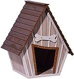 dobar 55012 Hundehütte ,XL Outdoor Hundehaus für große Hunde , Platz für ein Hundebett , Hundehöhle mit Spitzdach , 90x77x109 cm , 14kg Holzhütte , entfernbarer Boden   Farbe: braun/g