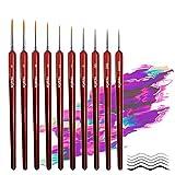 Feine Detail Pinsel für Acryl Aquarell Modellbau,10 Stück Malpinsel Set für Künstler   ideal für Acrylfarben Wasserfarben Miniaturen und Nageldesign
