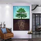 Nordic Prints Wandbilder Baum des Erfolgs Leinwand Poster Landschaft Motivations Wandkunst Zitat Wohnzimmer Wohnkultur Cuadros-40x60cm Kein Rahmen