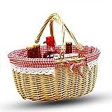 Handgefertigtes Picknickkorb Oval Aus Weidenholz, Mit Griffen, Plaid Futter,Für Obstblumen Und Gemüse,01,S