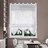 i@HOME Voile Raffrollo 140 x 155 cm Raffgardinen mit Schlaufen Fenstervorhang Scheibengardinen für Fenster (Weiß, 140 x 155 cm)