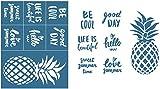 Alinacutle Siebdruck-Schablone, wiederverwendbar, selbstklebend, Siebdruck, Blumen und Gefühle, zum Bedrucken auf Holz/Stoff/Papier, Heimdekoration, 21,6 x 27,9 cm, Ananas mit Empfindungen