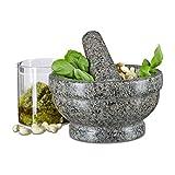 Relaxdays Granit Mörser mit Stößel 17 cm Durchmesser, robuster, langlebiger Steinmörser, echter Granit poliert, grau