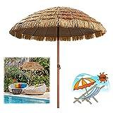 Sonnenschirm Hawaii Natur 240cm / 300cm Strandschirm Hawaii Terrassenschirm Strand Sonnenschirm, Kompletter Tropischer Terrassen-Look, 45° Neigungswinkel-Design (Size : 300×240cm/118×94in/9.9×7.9ft)
