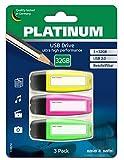 Platinum USB-Stick mit Beschriftungsfeld 32 GB 3-Pack USB Archiv 2.0 USB-Flash-Laufwerk - 3er Pack Speicher-Stick in Schwarz/Bunt Neon