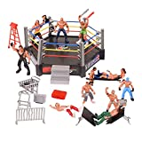 YIJIAOYUN Wrestling Figuren, Wrestling-Spielset enthält, 12 Miniatur-Action-Wrestling-Spieler und mehrere realistische Accessoires für Kinder