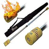 Flames N Games Pro FEUERSTAB Alu Classic (M) 120cm (Docht: 2x65mm) Medium Flammen! +Reisetasche! FeuerLangstab AKA Fire Staff Feuerartik