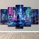 QQWW Bilder Neon-Stadt Japan-Mädchen bunt 5 Teilig,Bild auf Vlies Leinwand Deko Wohnzimmer Bilder,leinwandbilder,wandposter, fünfteilig,Home Dekoration,Mit Rahmen