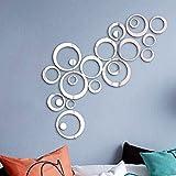 24 Stück Spiegel Wandaufkleber Kreise Rund Wandsticker Wandtatoo Spiegel Wanddeko Wandkunst Selbstklebend Abnehmbar für Schlafzimmer, Wohnzimmer, Haus Dek