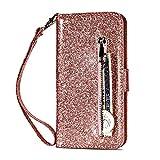 Miagon für Huawei P30 Glitzer Reißverschluss Hülle,Bling Wallet Leder Handyhülle Multifunktion Geldbörse Magnetisch Standfunktion Flip Etui Case C