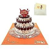Pop-up Geburtstagskarten für Frauen, Alles Gute zum Geburtstag 3D-Karte Exquisite Geburtstagstorte Karte mit Schokolade Rose Blume Herz Packung von 1 (17 * 12cm)