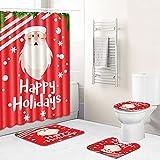 MMHJS Weihnachtsdruck Badezimmer Wasserdichter Duschvorhang Toilette Toilettenmatte Duschraum rutschfeste Fußmatte 4-Teiliges Set