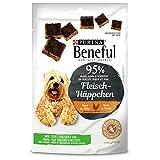 PURINA BENEFUL Fleisch-Häppchen Hundeleckerli, Snack mit 95% Fleischanteil, reich an Huhn, 7er Pack (7 x 70g)