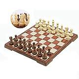 Zyj stores WPC-Schach-Set Folding Magnetic Schachspiel Schachbrett Gelegenheitslernspielzeug mit Woodgrain-Schach-Stücke 32pcs