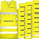 Nashville print factory Warnweste gelb mit Text Bedruckt Rückendruck + Brustdruck Sicherheitsweste EN ISO 20471 (Brandschutzhelfer)