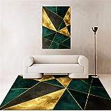 Kunsen Teppich antirutschmatte Schlafzimmer Teppich grün Gold weich Wohnzimmer Dekoration Teppich günstig bettumrandung Teppich 80X120CM 2ft 7.5' X3ft 11.2'