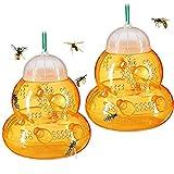 ACPURI 2stk Wespenfalle, Groß Φ13*14cm Wespen Lebendfalle, ohne Lockstoff, zum Aufhängen&Hinstellen, Abnehmbar&Wiederverwendbar Wespenfänger - Honigfarb