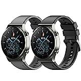 Keweni Armband Kompatibel mit Huawei Watch GT2 Pro, Quick-Fit Ersatz Armbänder für Honor Watch Magic/Honor GS Pro/Huawei GT2 46mm, 22mm Silikon Ersatzarmband (Schwarz+Grau)