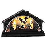Halloween Deko Vintage Laterne, Simulation Retro LED leuchtendes Haus DREI Kerzenlicht-Feiertags-Dekoration,Kerzenlicht Flammenlose Kerzen Innen- / Außenlaterne mit hängender 3AAA-Batterie