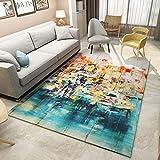 SunYe Moderne Minimalistische Teppich Geometrische Druck Fußmatten Wohnzimmer Couchtisch Schlafzimmer Bett Großflächige Teppich Fußmatten
