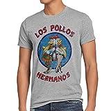 style3 Los Pollos T-Shirt Herren, Größe:L, Farbe:Grau meliert