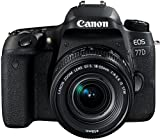 Canon EOS 77D DSLR Digitalkamera - mit Objektiv EF-S 18-55mm F4-5.6 IS STM Objektiv (24,2 Megapixel, 7,7 cm (3 Zoll) Display, APS-C CMOS Sensor, Full-HD), schw