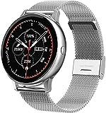 DHTOMC Smart Watch Wasserdicht IP67 Fitness Tracker Farbbildschirm Aktivitätstracker Schrittzähler Silber + Stahlg
