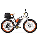 Elektrofahrrad Ebike Mountainbike, 26'Fat Tire Elektrofahrrad mit 48V 17Ah / Lithium Batterie und Shimano 21-Gang (Orange Plus)