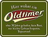 RAHMENLOS Deko Blechschild als Geschenk zum 50. Geburtstag: Oldtimer, über 50 Jahre gelaufen, Topzustand