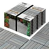 INTERBUILD Akazien Hartholz Deck Fliesen 30 × 30cm | Dämmerungsgrau | Patio & Balkon | 10 FLIESEN = 0,9 ㎡ pro PACKUNG holzfliesen | balkon bodenbelag | terassenboden außen | klickfliesen holz