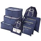 Vicloon Gepäck Organizer, 8-in-1-Set Koffer Organizer umfassen 2 * Schuhbeutel, 3 * Packwürfel und 3 * Aufbewahrungsbeutel, Reise Kleidertaschen für Kleidung Schuhe Unterwäsche Kosmetik (Dunkelblau)