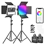 Neewer RGBLEDVideolicht mit APP-Steuerung360° Vollfarbe 50W 660 PRO Videobeleuchtungsset CRI 97 für SpieleStreamingZoomYouTubeWebexRundfunkWebkonferenzFotografie