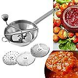 Passiergerät aus rostfreiem Edelstahl mit 3X Siebeinsatz, Passiergerät Passiermaschine zum Passieren von Suppen Tomaten Gemüse Kartoffeln - Passiermühle, spülmaschinengeeignet