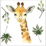 wolga-kreativ Wandtattoo Wandsticker Wandbild Afrika Tiere Giraffe Wanddeko Set Kinderzimmer Spielzimmer Babyzimmer Mädchen Junge-n Baby Zimmer w
